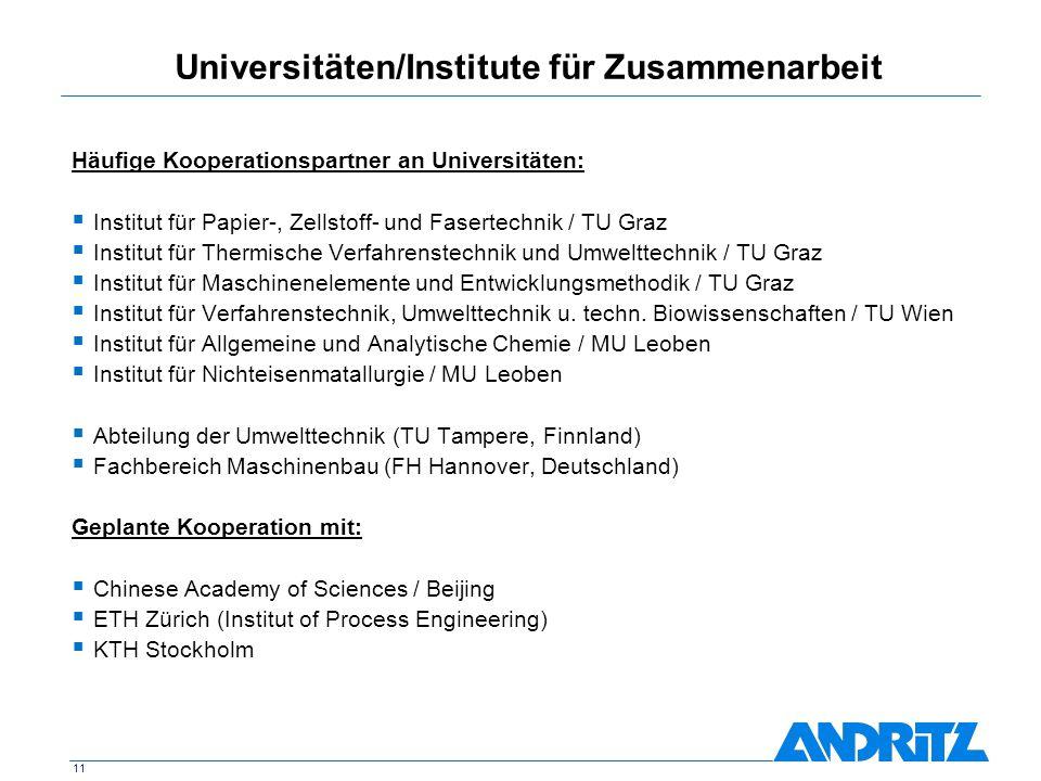 11 Universitäten/Institute für Zusammenarbeit Häufige Kooperationspartner an Universitäten: Institut für Papier-, Zellstoff- und Fasertechnik / TU Gra