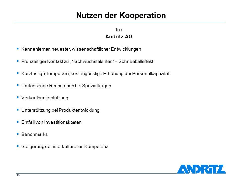 13 Nutzen der Kooperation für Andritz AG Kennenlernen neuester, wissenschaftlicher Entwicklungen Frühzeitiger Kontakt zu Nachwuchstalenten – Schneebal
