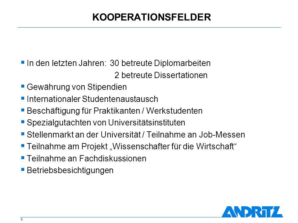9 KOOPERATIONSFELDER In den letzten Jahren:30 betreute Diplomarbeiten 2 betreute Dissertationen Gewährung von Stipendien Internationaler Studentenaust
