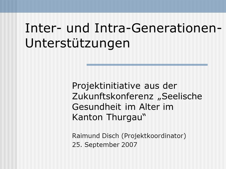 Inter- und Intra-Generationen- Unterstützungen Projektinitiative aus der Zukunftskonferenz Seelische Gesundheit im Alter im Kanton Thurgau Raimund Dis