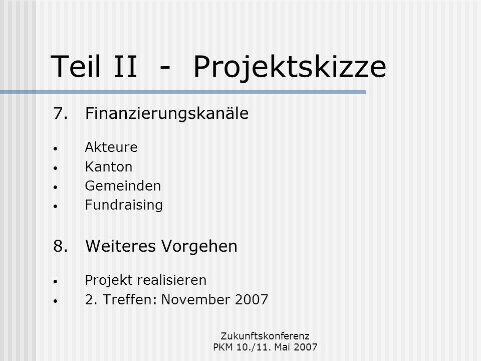 Zukunftskonferenz PKM 10./11. Mai 2007 Teil II - Projektskizze 7.Finanzierungskanäle Akteure Kanton Gemeinden Fundraising 8.Weiteres Vorgehen Projekt
