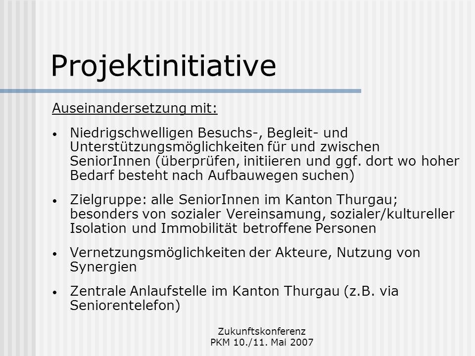 Zukunftskonferenz PKM 10./11. Mai 2007 Projektinitiative Auseinandersetzung mit: Niedrigschwelligen Besuchs-, Begleit- und Unterstützungsmöglichkeiten