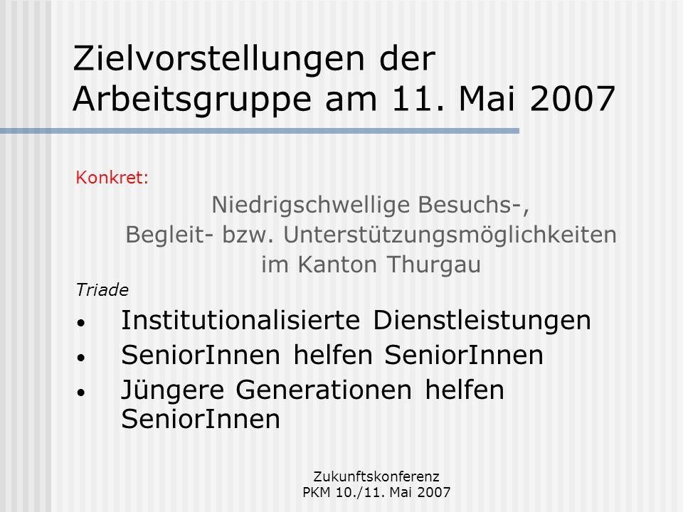 Zukunftskonferenz PKM 10./11. Mai 2007 Zielvorstellungen der Arbeitsgruppe am 11. Mai 2007 Konkret: Niedrigschwellige Besuchs-, Begleit- bzw. Unterstü