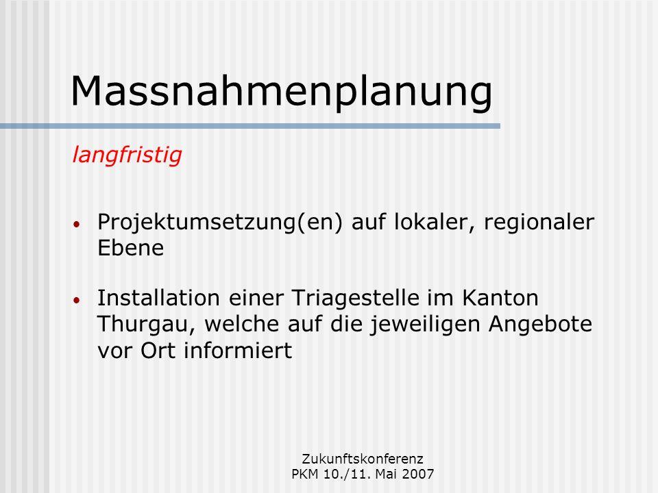 Zukunftskonferenz PKM 10./11. Mai 2007 Massnahmenplanung langfristig Projektumsetzung(en) auf lokaler, regionaler Ebene Installation einer Triagestell