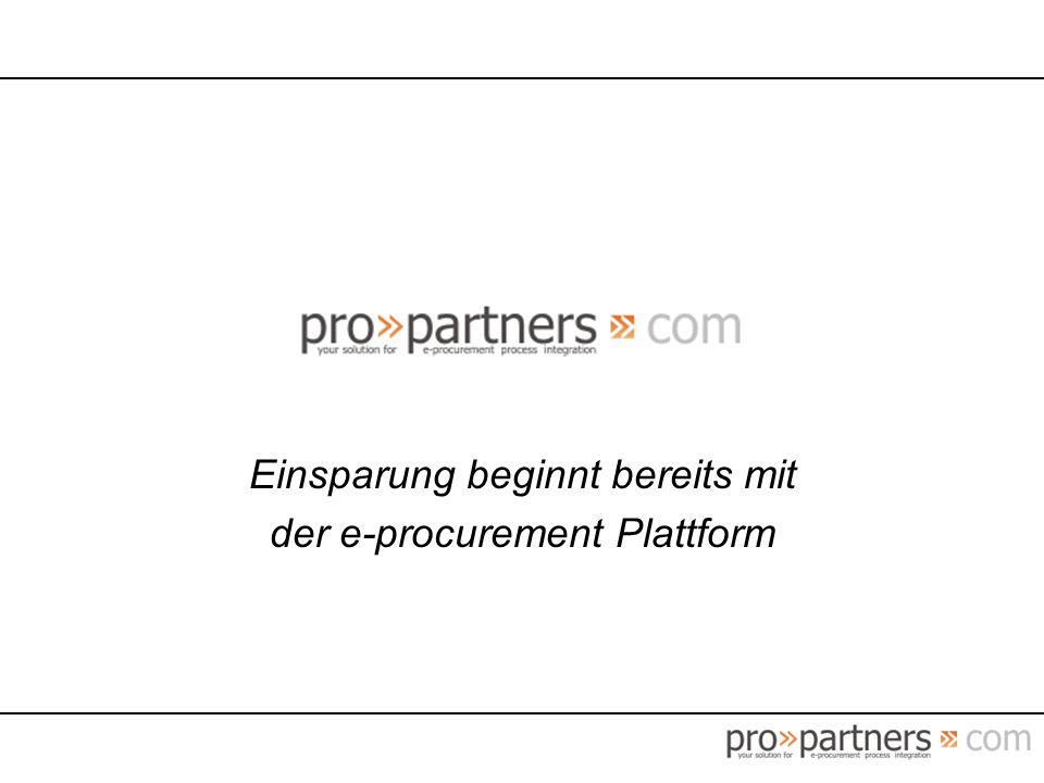 Einsparung beginnt bereits mit der e-procurement Plattform