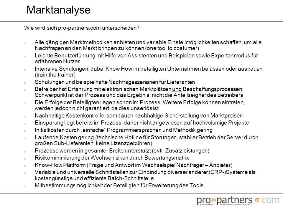 Marktanalyse Wie wird sich pro-partners.com unterscheiden.