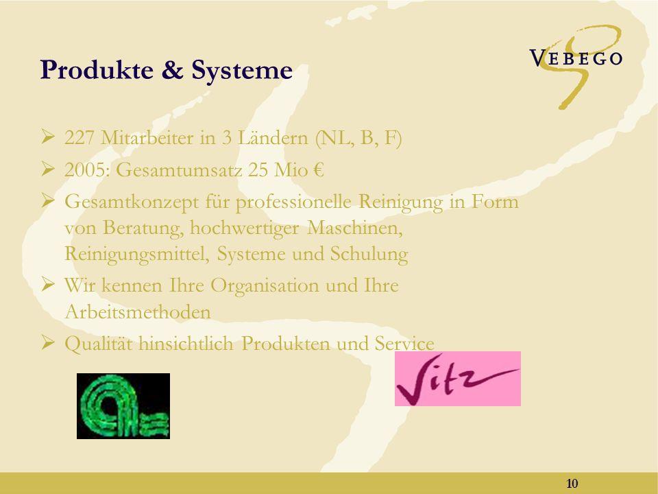 9 Reinigung & technische Dienstleistungen Insgesamt 23.604 Mitarbeiter, 10.031 davon in NL 2005: Gesamtumsatz dieser Aktivität 437 Mio 2005: Umsatz in