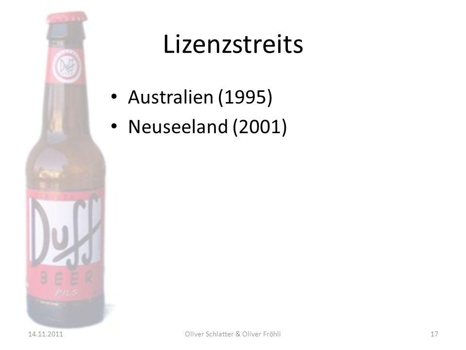 Lizenzstreits Australien (1995) Neuseeland (2001) 14.11.201117Oliver Schlatter & Oliver Fröhli
