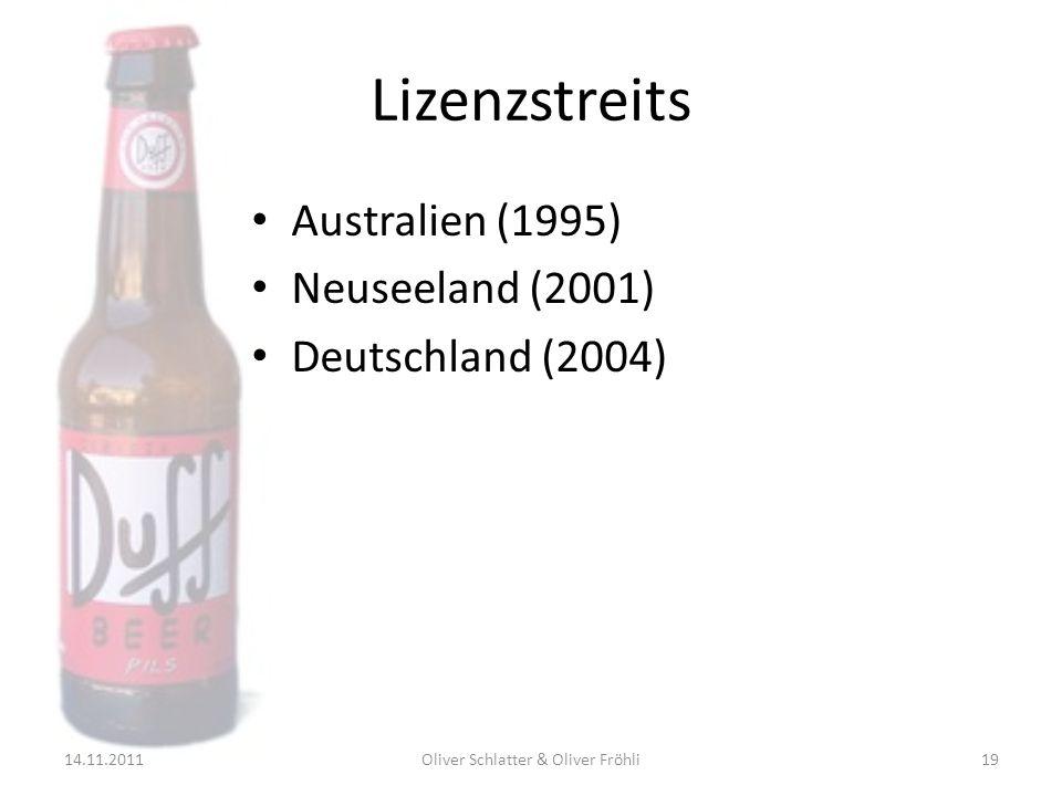 Lizenzstreits Australien (1995) Neuseeland (2001) Deutschland (2004) 14.11.201119Oliver Schlatter & Oliver Fröhli