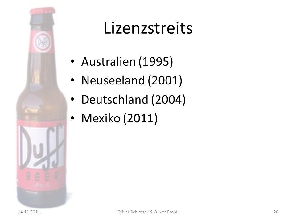 Lizenzstreits Australien (1995) Neuseeland (2001) Deutschland (2004) Mexiko (2011) 14.11.201120Oliver Schlatter & Oliver Fröhli