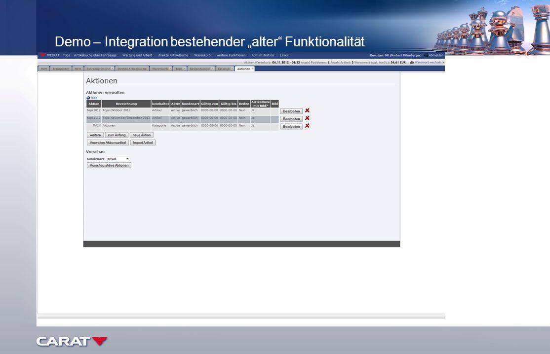 Demo – Integration bestehender alter Funktionalität