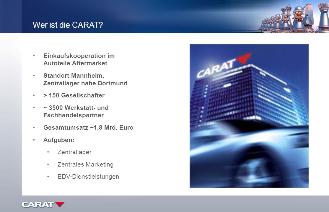 Wer ist die CARAT? Einkaufskooperation im Autoteile Aftermarket Standort Mannheim, Zentrallager nahe Dortmund > 150 Gesellschafter ~ 3500 Werkstatt- u