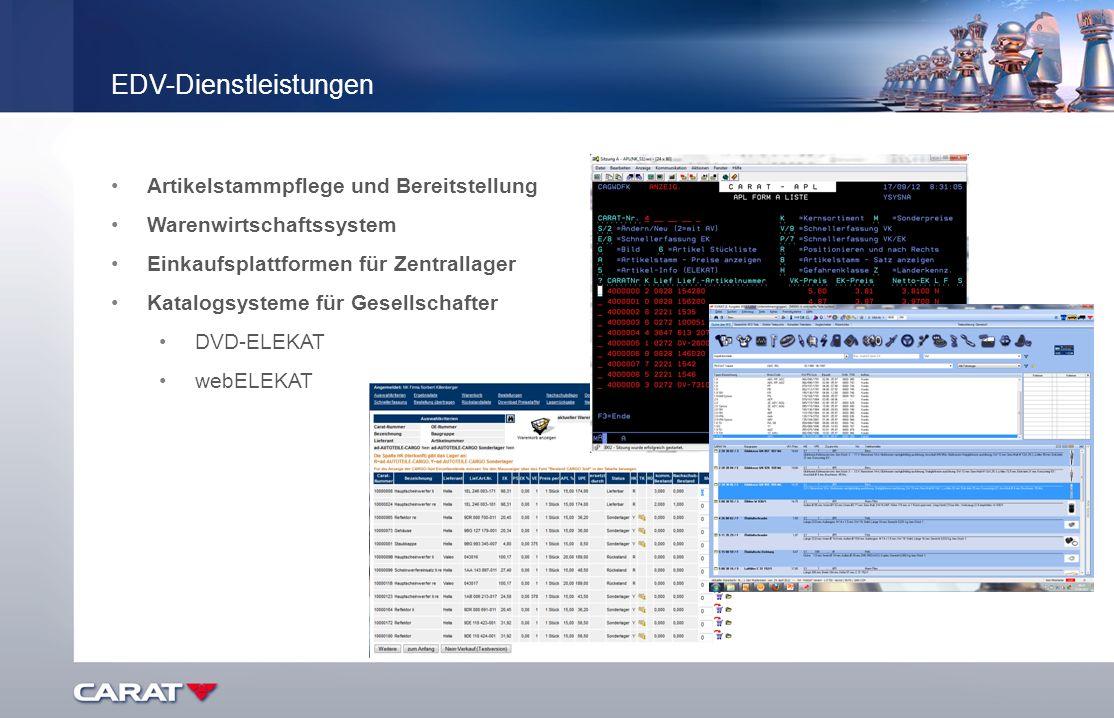 Artikelstammpflege und Bereitstellung Warenwirtschaftssystem Einkaufsplattformen für Zentrallager Katalogsysteme für Gesellschafter DVD-ELEKAT webELEK