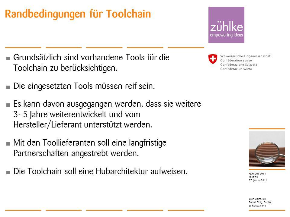 © Zühlke 2011 ALM Day 2011 Grundsätzlich sind vorhandene Tools für die Toolchain zu berücksichtigen. Die eingesetzten Tools müssen reif sein. Es kann