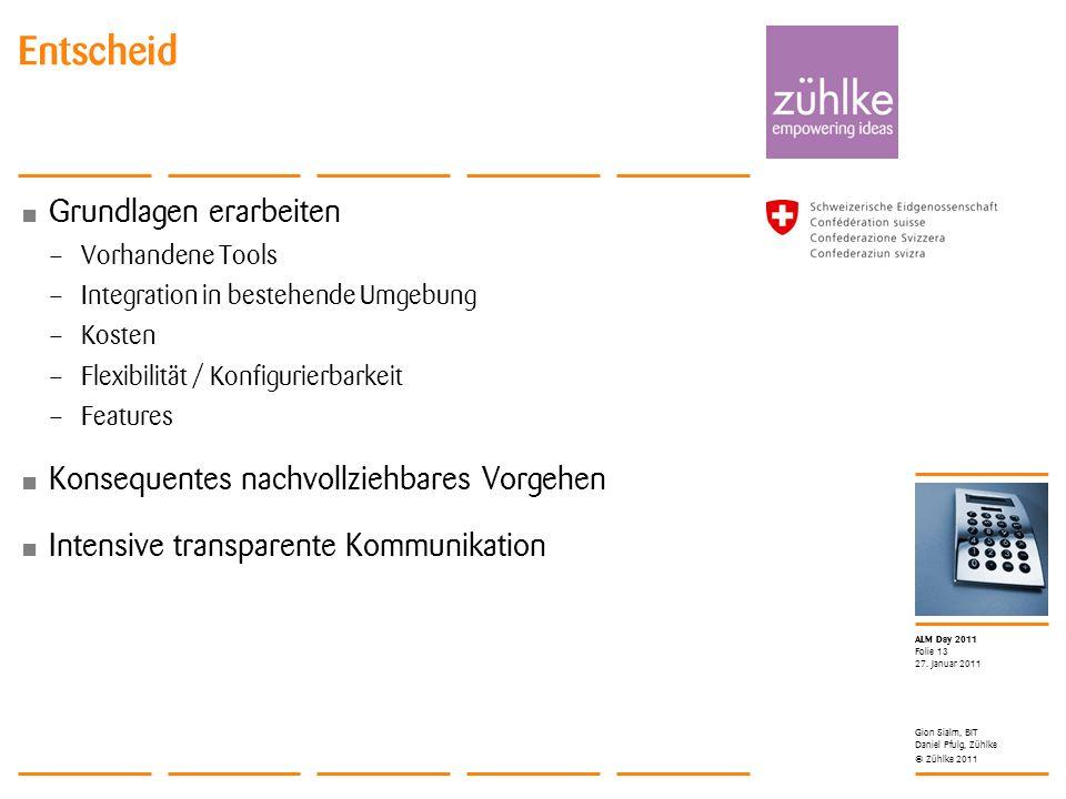 © Zühlke 2011 ALM Day 2011 Grundlagen erarbeiten – Vorhandene Tools – Integration in bestehende Umgebung – Kosten – Flexibilität / Konfigurierbarkeit