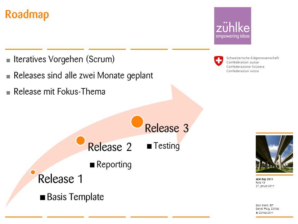 © Zühlke 2011 ALM Day 2011 Iteratives Vorgehen (Scrum) Releases sind alle zwei Monate geplant Release mit Fokus-Thema 27. Januar 2011 Folie 15 Roadmap