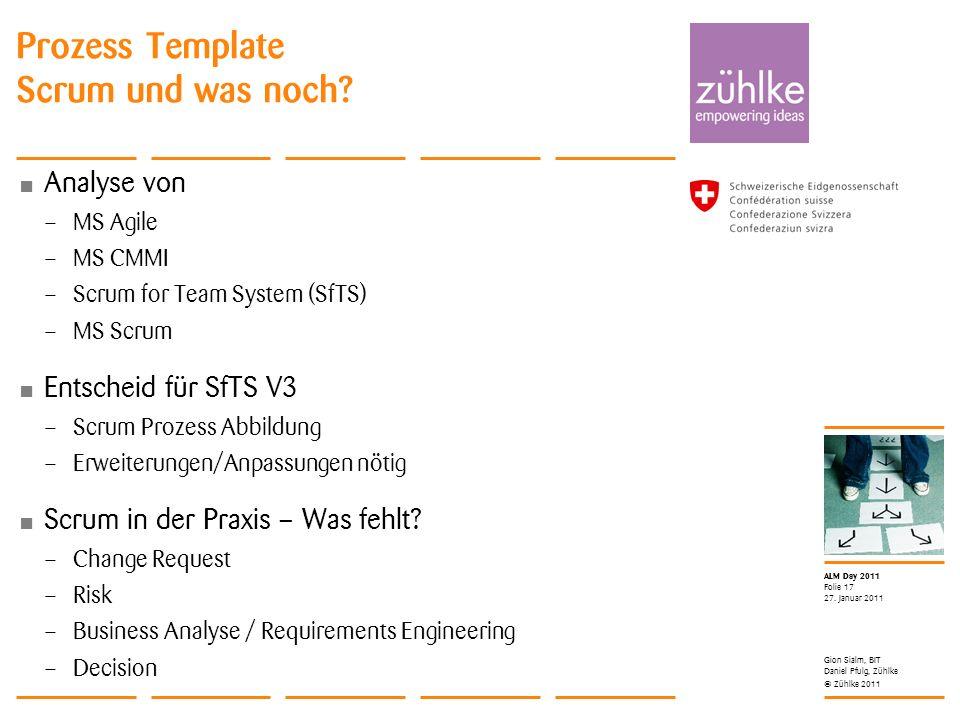 © Zühlke 2011 ALM Day 2011 Analyse von – MS Agile – MS CMMI – Scrum for Team System (SfTS) – MS Scrum Entscheid für SfTS V3 – Scrum Prozess Abbildung