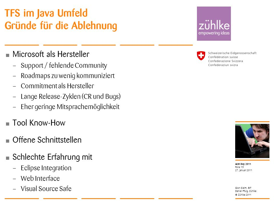 © Zühlke 2011 ALM Day 2011 Microsoft als Hersteller – Support / fehlende Community – Roadmaps zu wenig kommuniziert – Commitment als Hersteller – Lang