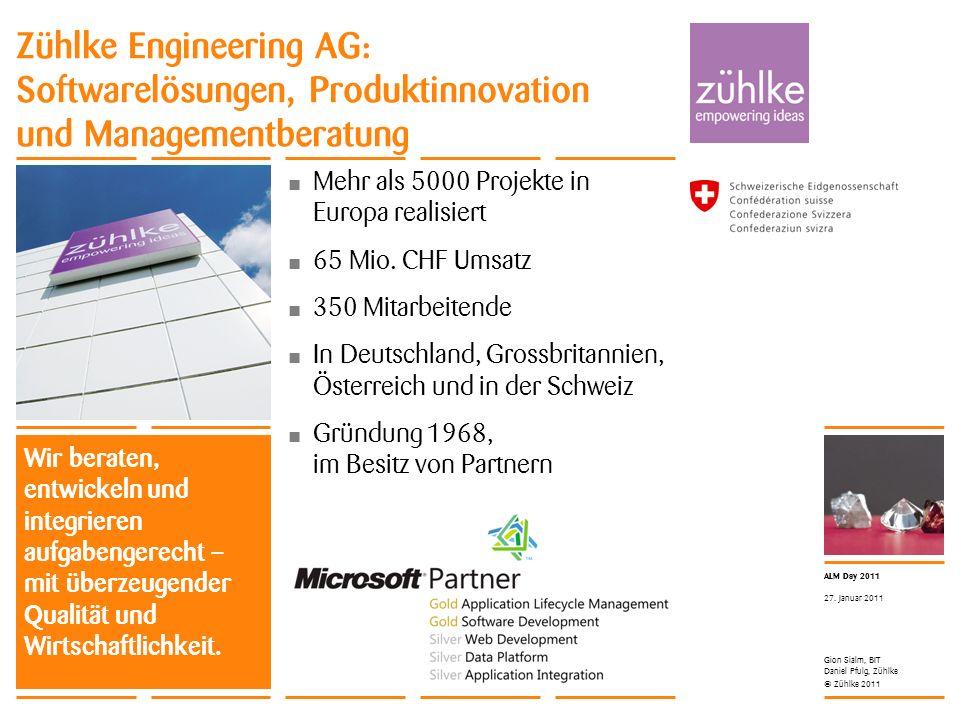 © Zühlke 2011 ALM Day 2011 Gion Sialm, BIT Daniel Pfulg, Zühlke 27. Januar 2011 Zühlke Engineering AG: Softwarelösungen, Produktinnovation und Managem