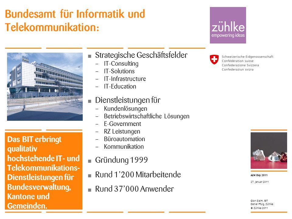 © Zühlke 2011 ALM Day 2011 Gion Sialm, BIT Daniel Pfulg, Zühlke 27. Januar 2011 Bundesamt für Informatik und Telekommunikation: Das BIT erbringt quali