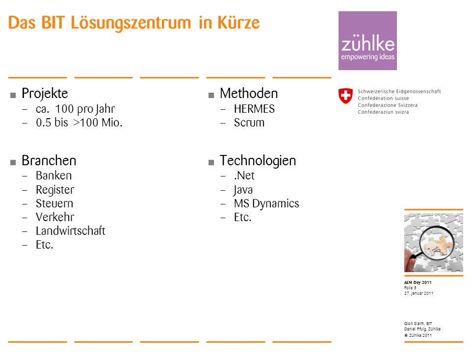 © Zühlke 2011 ALM Day 2011 Projekte – ca. 100 pro Jahr – 0.5 bis >100 Mio. Branchen – Banken – Register – Steuern – Verkehr – Landwirtschaft – Etc. 27