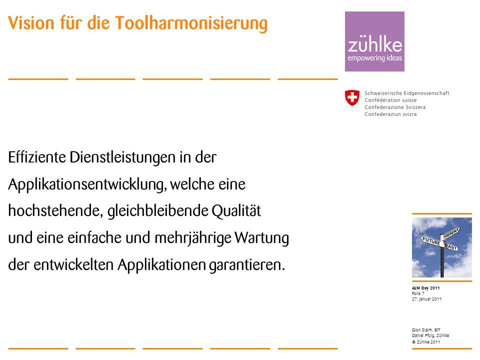 © Zühlke 2011 ALM Day 2011 Effiziente Dienstleistungen in der Applikationsentwicklung, welche eine hochstehende, gleichbleibende Qualität und eine ein
