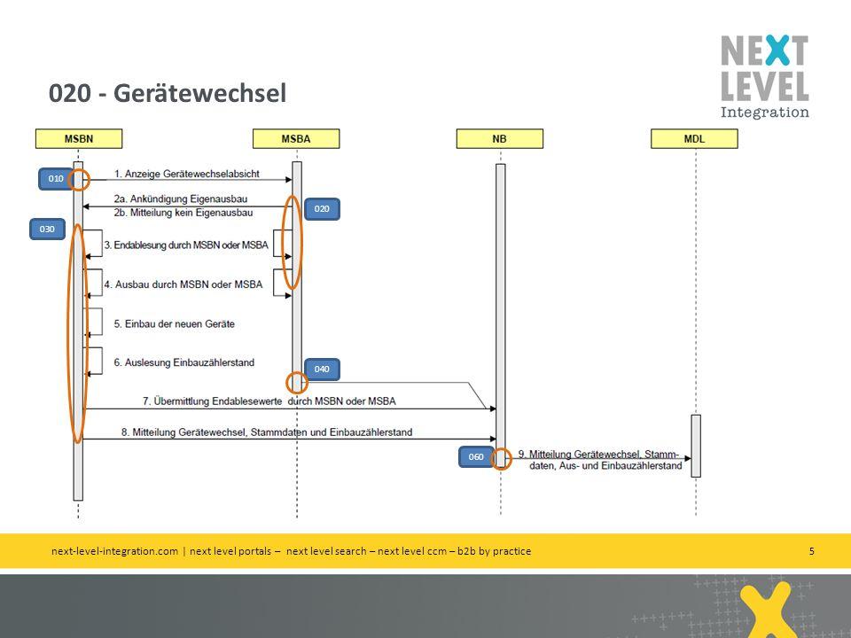 5 020 - Gerätewechsel next-level-integration.com | next level portals – next level search – next level ccm – b2b by practice 010 020 030 040 060