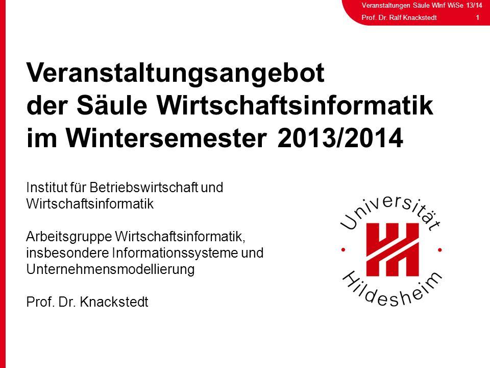 Veranstaltungen Säule WInf WiSe 13/14 1Prof. Dr. Ralf Knackstedt Veranstaltungsangebot der Säule Wirtschaftsinformatik im Wintersemester 2013/2014 Ins