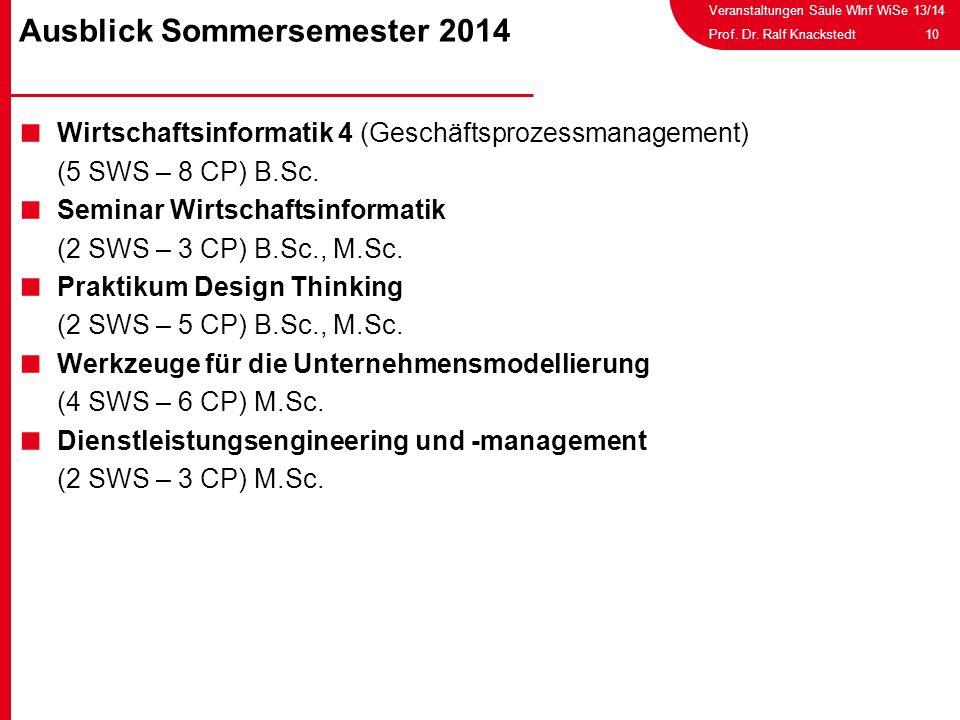 Veranstaltungen Säule WInf WiSe 13/14 10Prof. Dr. Ralf Knackstedt Wirtschaftsinformatik 4 (Geschäftsprozessmanagement) (5 SWS – 8 CP) B.Sc. Seminar Wi