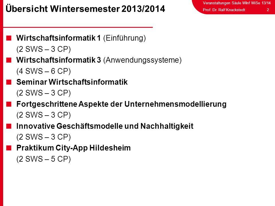 Veranstaltungen Säule WInf WiSe 13/14 2Prof. Dr. Ralf Knackstedt Wirtschaftsinformatik 1 (Einführung) (2 SWS – 3 CP) Wirtschaftsinformatik 3 (Anwendun