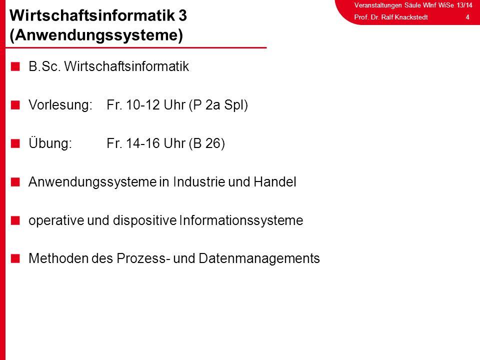 Veranstaltungen Säule WInf WiSe 13/14 4Prof. Dr. Ralf Knackstedt B.Sc. Wirtschaftsinformatik Vorlesung: Fr. 10-12 Uhr (P 2a Spl) Übung: Fr. 14-16 Uhr