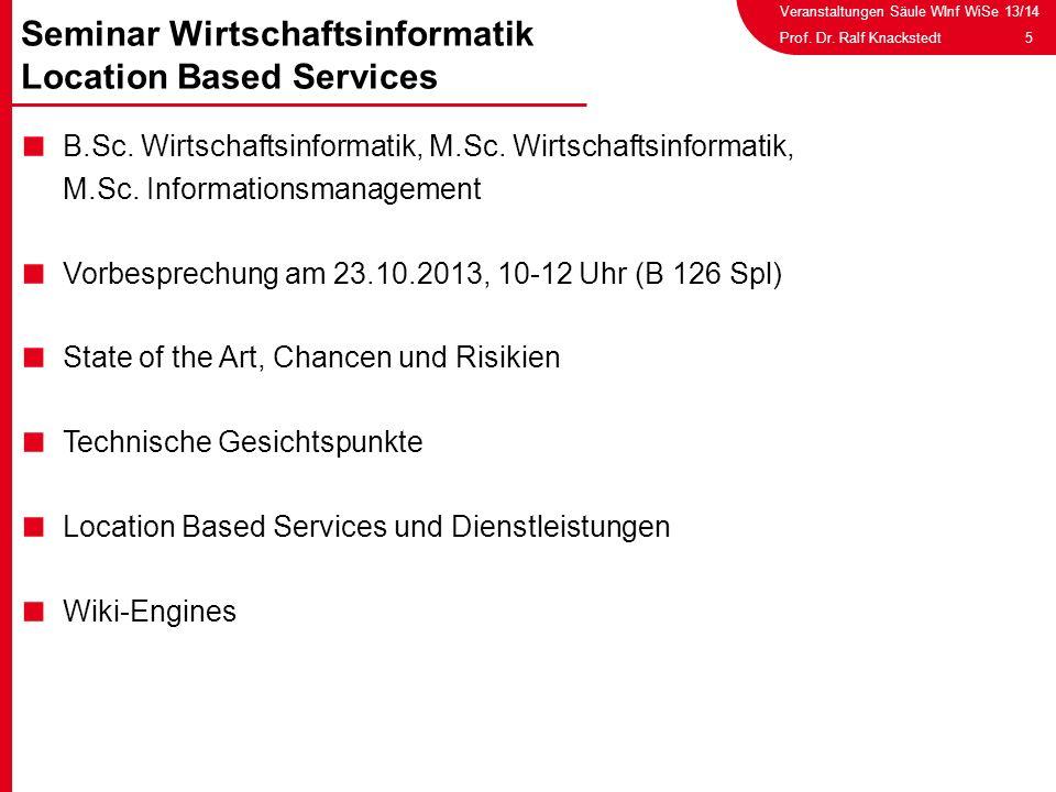 Veranstaltungen Säule WInf WiSe 13/14 5Prof. Dr. Ralf Knackstedt B.Sc. Wirtschaftsinformatik, M.Sc. Wirtschaftsinformatik, M.Sc. Informationsmanagemen