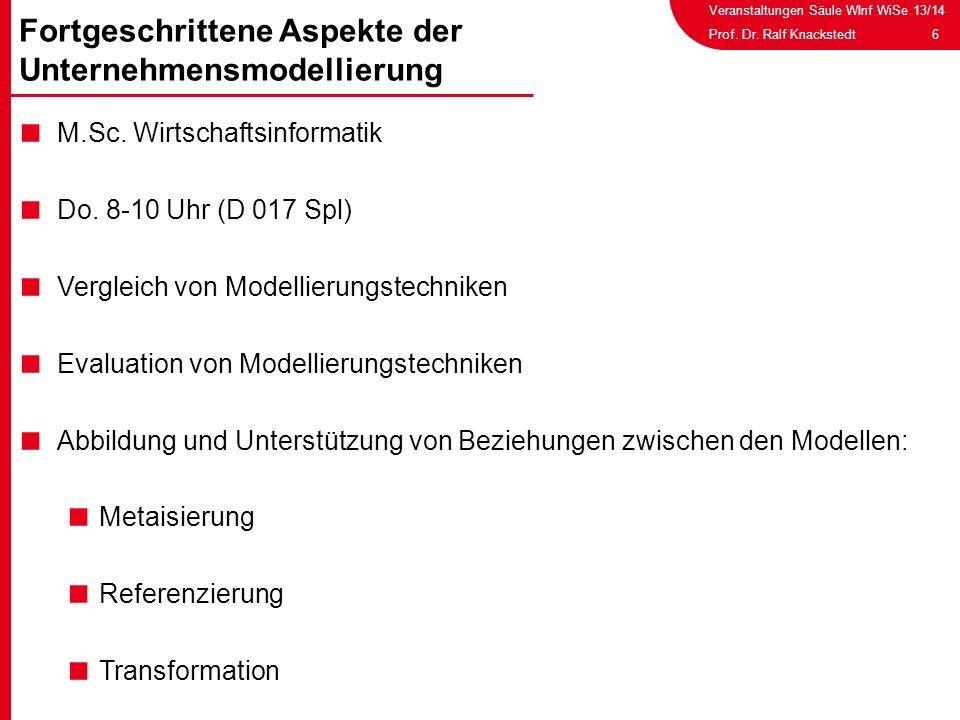 Veranstaltungen Säule WInf WiSe 13/14 6Prof. Dr. Ralf Knackstedt M.Sc. Wirtschaftsinformatik Do. 8-10 Uhr (D 017 Spl) Vergleich von Modellierungstechn