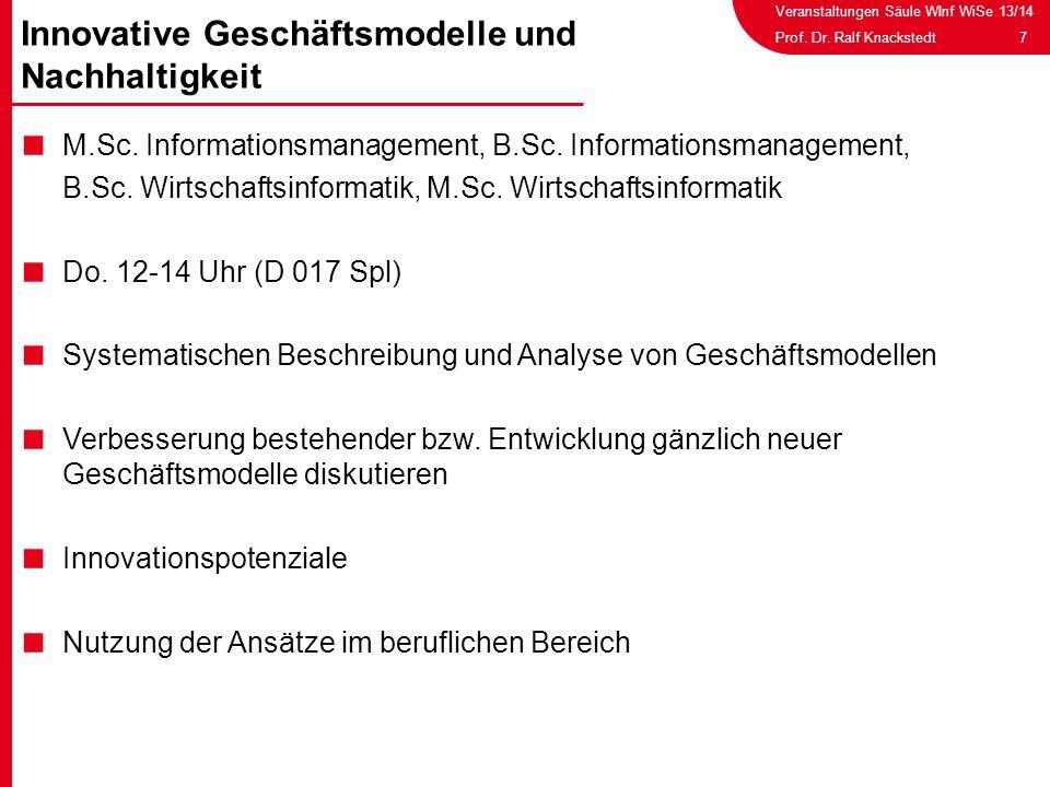 Veranstaltungen Säule WInf WiSe 13/14 7Prof. Dr. Ralf Knackstedt M.Sc. Informationsmanagement, B.Sc. Informationsmanagement, B.Sc. Wirtschaftsinformat