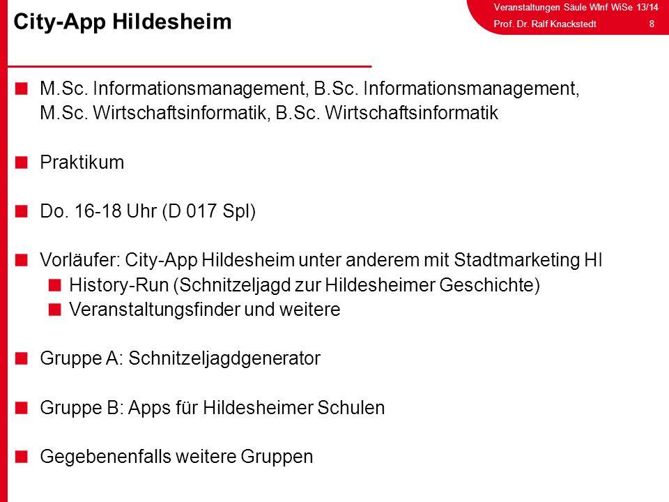 Veranstaltungen Säule WInf WiSe 13/14 8Prof. Dr. Ralf Knackstedt M.Sc. Informationsmanagement, B.Sc. Informationsmanagement, M.Sc. Wirtschaftsinformat