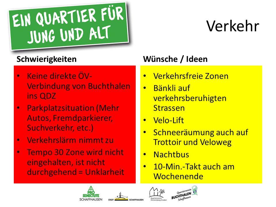 Verkehr Schwierigkeiten Keine direkte ÖV- Verbindung von Buchthalen ins QDZ Parkplatzsituation (Mehr Autos, Fremdparkierer, Suchverkehr, etc.) Verkehr