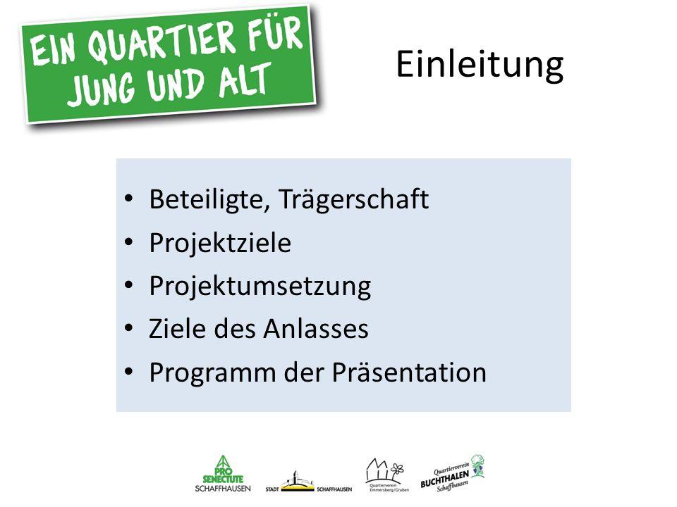 Einleitung Beteiligte, Trägerschaft Projektziele Projektumsetzung Ziele des Anlasses Programm der Präsentation