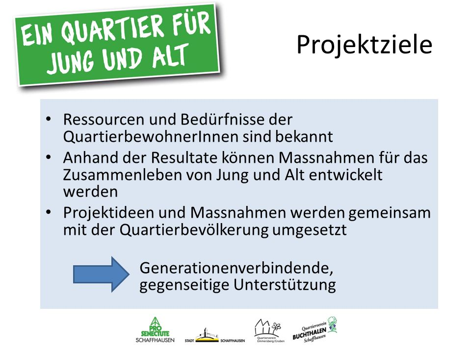 Projekt- umsetzung Einbezug der Quartierakteure / Schlüsselpersonen Befragung: rund 70 Gespräche Diskussion der Ergebnisse