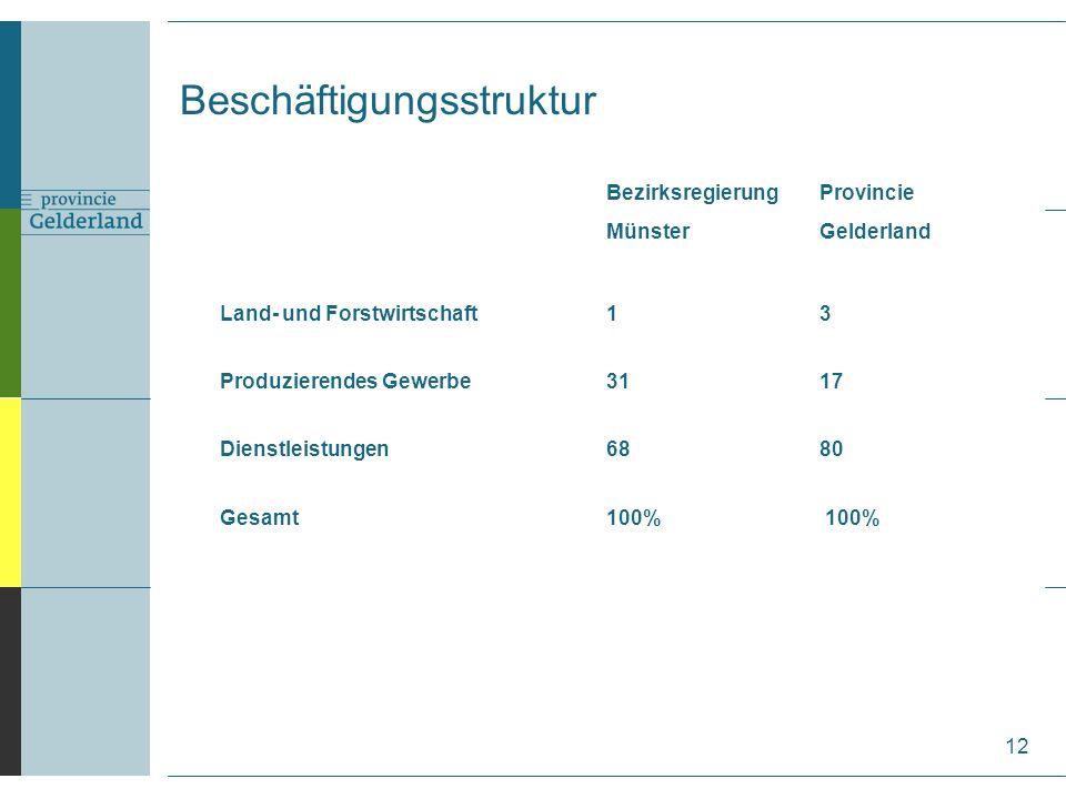 BezirksregierungProvincie MünsterGelderland Land- und Forstwirtschaft13 Produzierendes Gewerbe3117 Dienstleistungen6880 Gesamt100% 100% 12 Beschäftigungsstruktur
