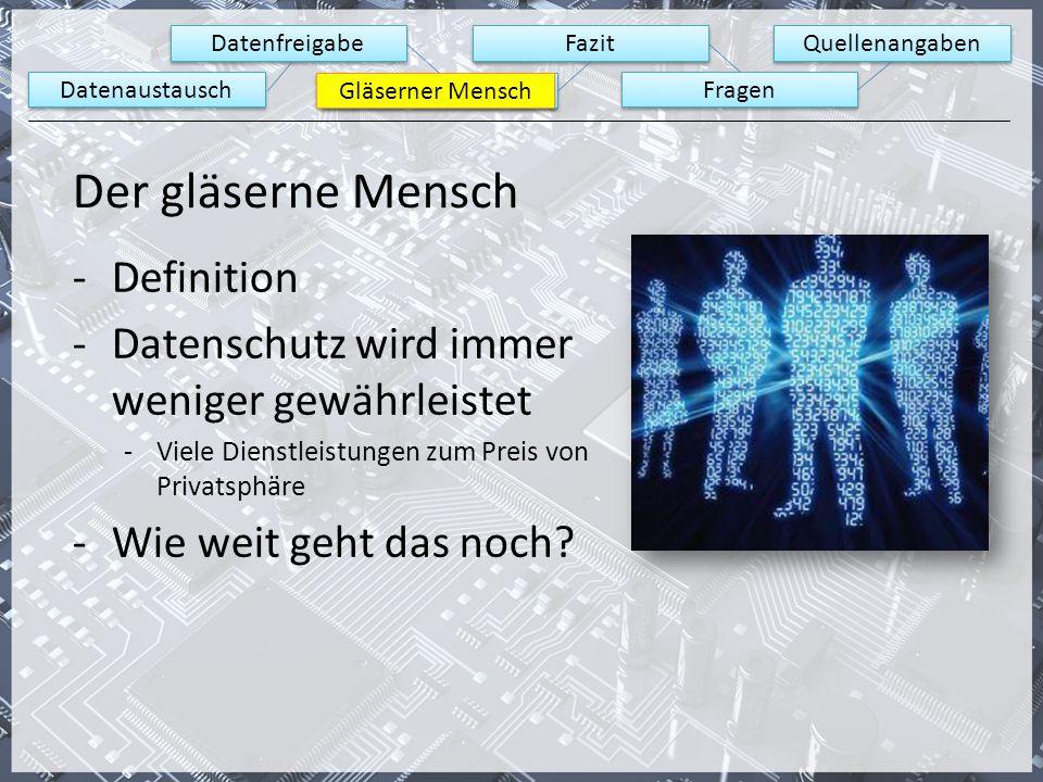 Datenaustausch Datenfreigabe Gläserner Mensch Fazit Fragen Quellenangaben Gläserner Mensch Der gläserne Mensch -Definition -Datenschutz wird immer wen