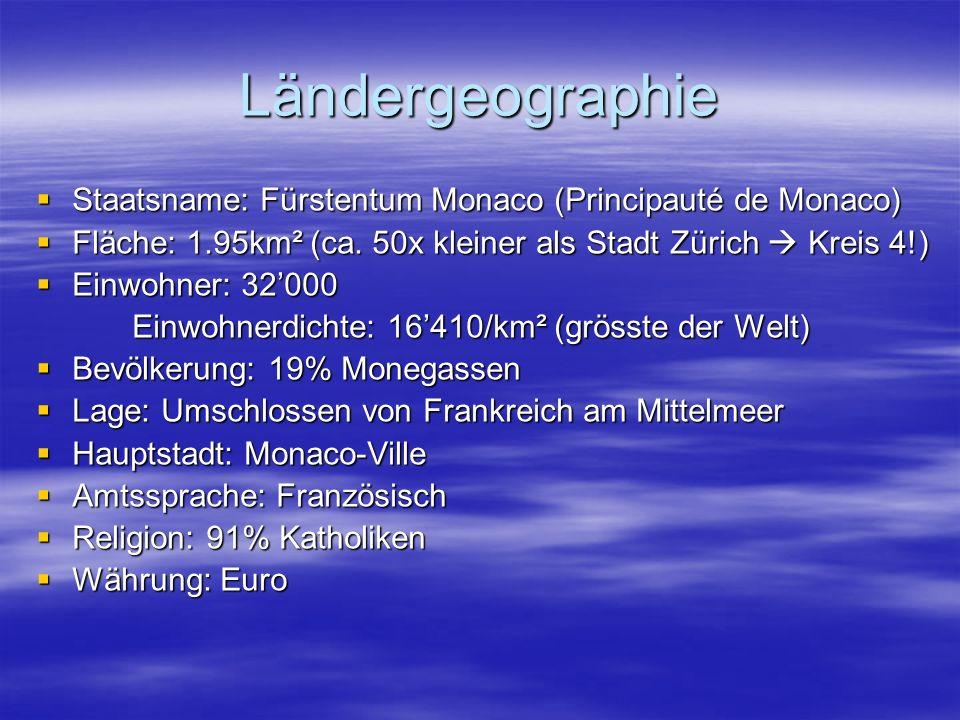 Ländergeographie Staatsname: Fürstentum Monaco (Principauté de Monaco) Staatsname: Fürstentum Monaco (Principauté de Monaco) Fläche: 1.95km² (ca.