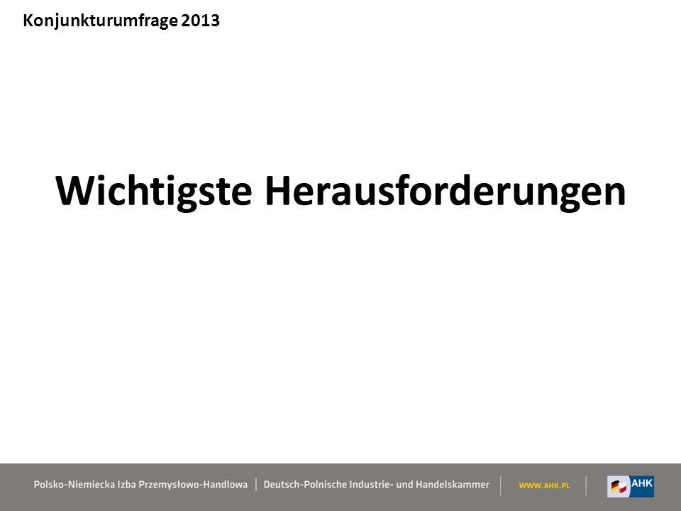 Wichtigste Herausforderungen Konjunkturumfrage 2013