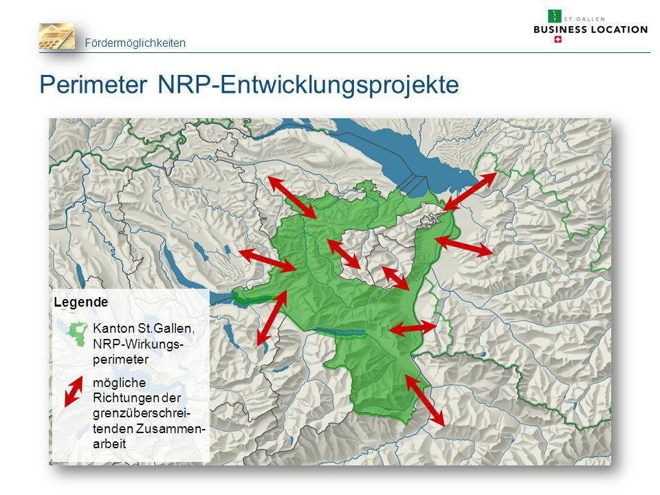 Fördermöglichkeiten Perimeter NRP-Entwicklungsprojekte Legende Kanton St.Gallen, NRP-Wirkungs- perimeter mögliche Richtungen der grenzüberschrei- tend