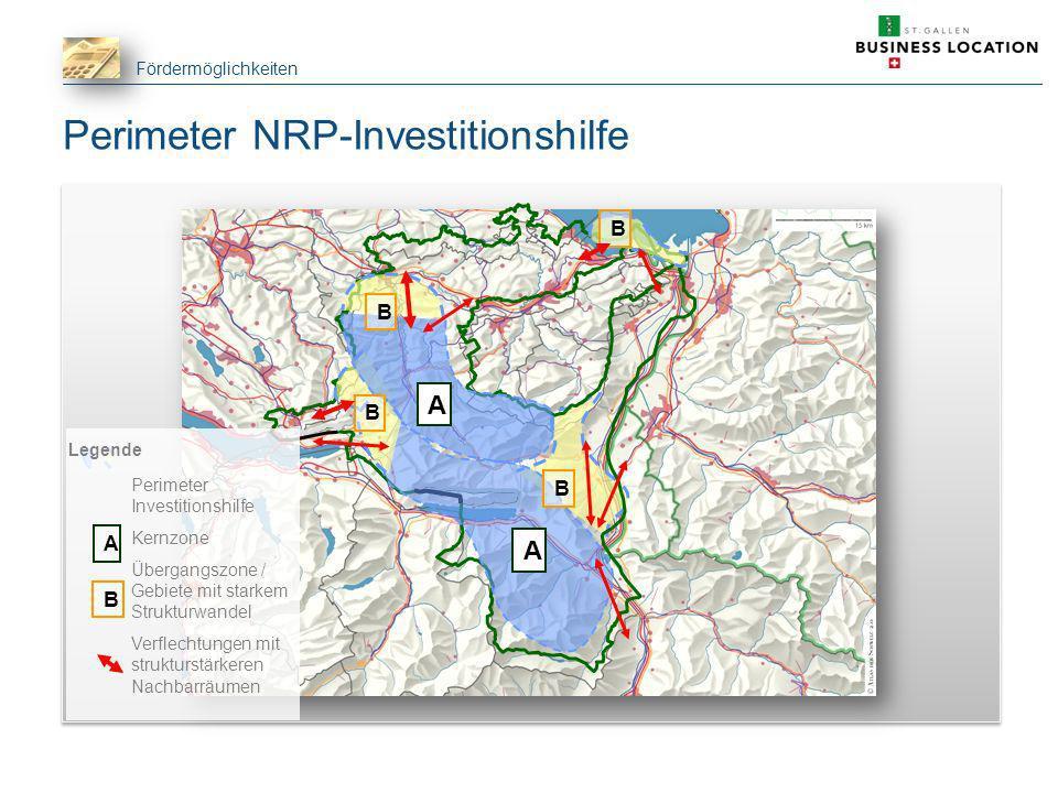 Fördermöglichkeiten B A A B B B Perimeter NRP-Investitionshilfe Legende Perimeter Investitionshilfe Kernzone Übergangszone / Gebiete mit starkem Struk