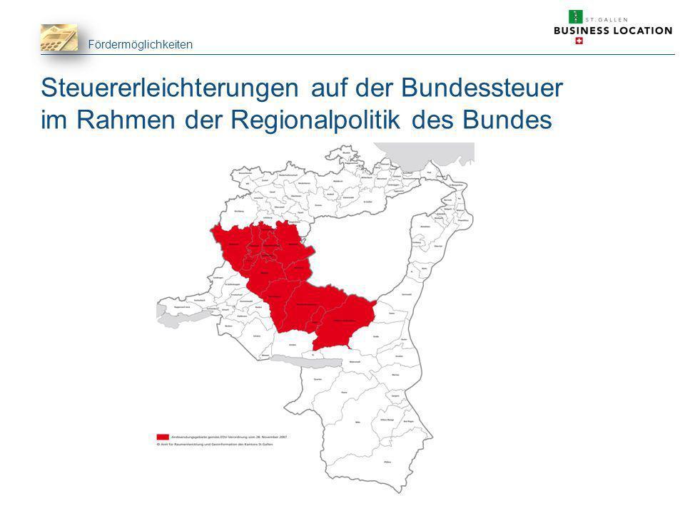 Fördermöglichkeiten Steuererleichterungen auf der Bundessteuer im Rahmen der Regionalpolitik des Bundes