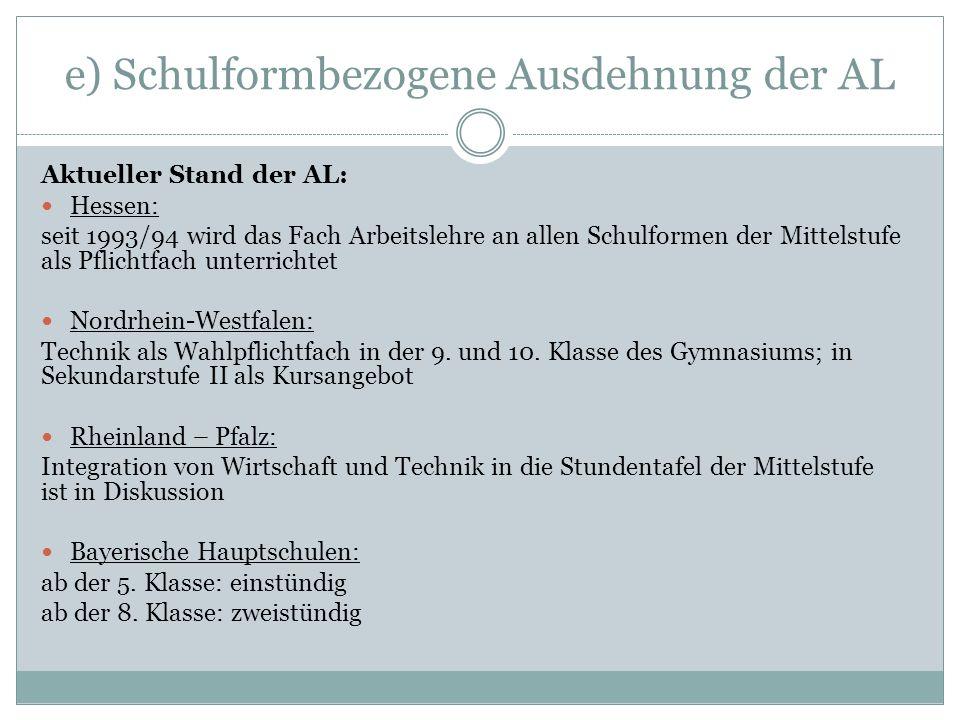e) Schulformbezogene Ausdehnung der AL Aktueller Stand der AL: Hessen: seit 1993/94 wird das Fach Arbeitslehre an allen Schulformen der Mittelstufe al