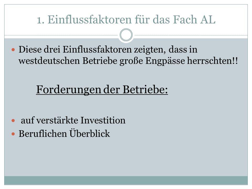 Diese drei Einflussfaktoren zeigten, dass in westdeutschen Betriebe große Engpässe herrschten!! Forderungen der Betriebe: auf verstärkte Investition B