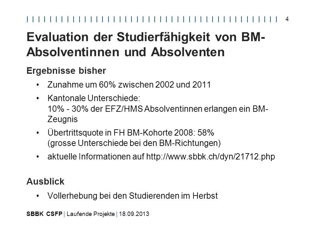 SBBK CSFP | Laufende Projekte | 18.09.2013 4 Evaluation der Studierfähigkeit von BM- Absolventinnen und Absolventen Ergebnisse bisher Zunahme um 60% zwischen 2002 und 2011 Kantonale Unterschiede: 10% - 30% der EFZ/HMS Absolventinnen erlangen ein BM- Zeugnis Übertrittsquote in FH BM-Kohorte 2008: 58% (grosse Unterschiede bei den BM-Richtungen) aktuelle Informationen auf http://www.sbbk.ch/dyn/21712.php Ausblick Vollerhebung bei den Studierenden im Herbst