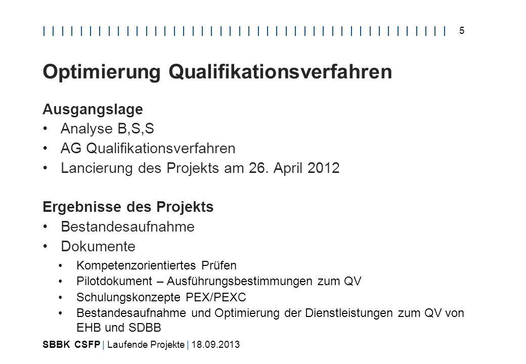 SBBK CSFP | Laufende Projekte | 18.09.2013 5 Optimierung Qualifikationsverfahren Ausgangslage Analyse B,S,S AG Qualifikationsverfahren Lancierung des Projekts am 26.