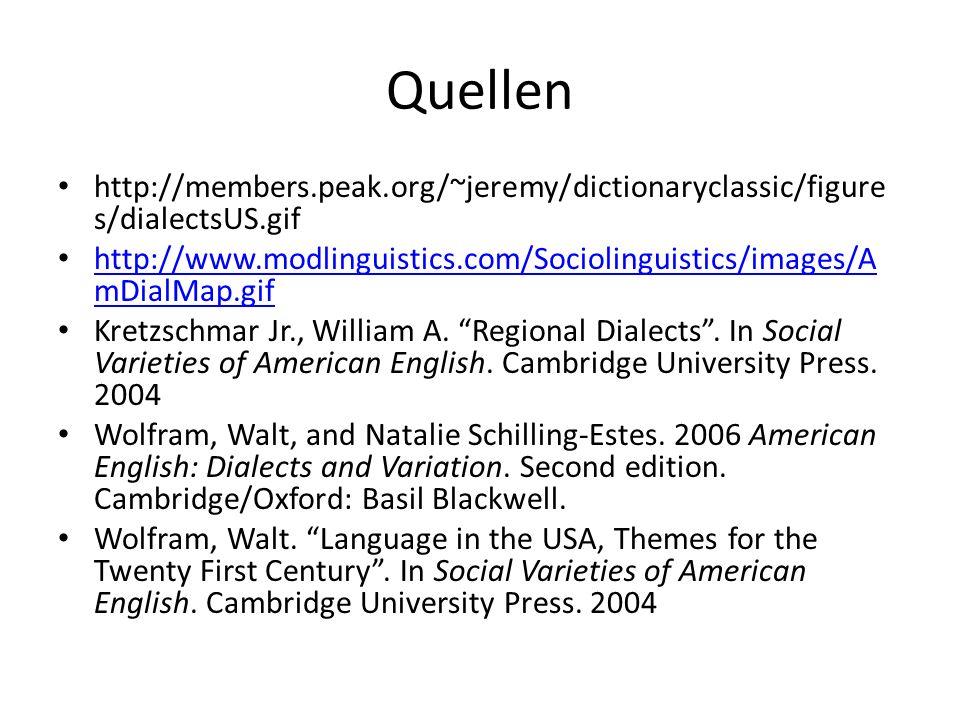 Quellen http://members.peak.org/~jeremy/dictionaryclassic/figure s/dialectsUS.gif http://www.modlinguistics.com/Sociolinguistics/images/A mDialMap.gif http://www.modlinguistics.com/Sociolinguistics/images/A mDialMap.gif Kretzschmar Jr., William A.